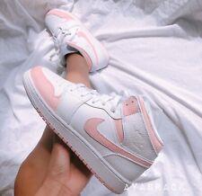 Baby Pink air jordan 1 mid Custom painted