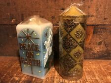 Lot 2 Vintage Carved Pillar Christmas Candle Factory Wrapped Dove Peace