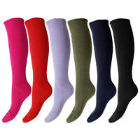 Girls/Teens Warm Long Knee High Cushioned Wellington Welly Boot Socks UK 4-8