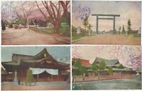 Yasukuni Shinto Shrine Tokyo Four 1920s Japanese Colored Photo Postcards