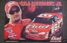 DALE EARNHARDT JR BUDWEISER POSTER DRIVER & CAR SHOT LOT (18) NASCAR RACING JR