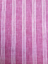 100% Linen Fabric Yarn Dyed Stripe and Coordinated Solid Color Hot Pink