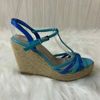 Colin Stuart Blue Strappy Espadrille Wedge Platform Sandals Women's Size 6B