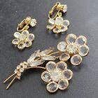 D&E JULIANA Vintage Gold Tone Crystal Glass Flower Brooch Pin & Earrings SET 287