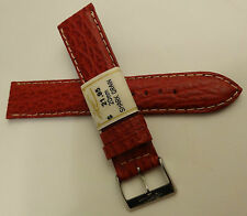 New ZRC Made in France Red Shark Grain 20mm Watch Band Chrome Buckle $21.95