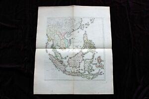 Große antike histor.Landkarte, Ost Indien jenseits des Ganges, wohl Weimar 1804