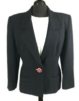 Ann Klein Womens Solid Black Wool Blazer Jacket Sz 12