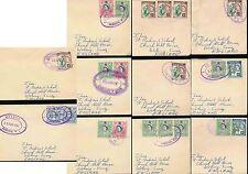 JAMAICA 1962 TRO PMKS OVALS..MOORES TROPICAL PLAZ GORDONS BEECHER TOWN...11 DIFF