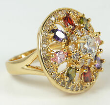 Para Mujer Chapado en Oro Anillo Grande Multi Color de Cristal declaración Uk Size M