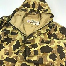 VTG Cabelas Jacket GoreTex Hunting Hat Hood Duck Camo Camouflage Coat USA Mens L