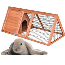 "50"" Wooden Triangle Rabbit Hutch Chicken Coop Guinea Pig House Running Outdoor"