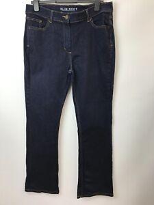 M&S Slim Bootcut Blue Denim Jeans UK 16 Medium  Length 30''  Stretch