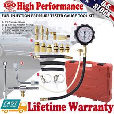 Gasoline Fuel Injection Pump Pressure Gauge Tester Test Tool Kit w/ Case 140PSI