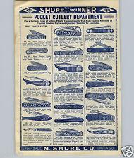 1908 PAPER AD Novelty Pocket Knife Fish Shaped Lady Leg Boot Sheo US