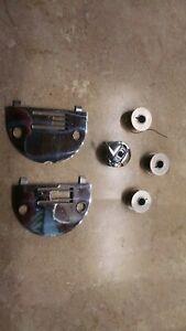 Necchi sewing machine parts bobbin holder, plates, bobbins