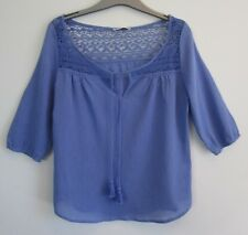 NWT Hot Options Peasant Blue Top Size 16