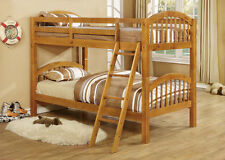 Twin Over Twin Bunk Bed in Oak Finish Wooden Bedroom Furniture Arch Head Board