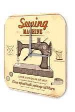 Nostalgic Wall Clock Vintage Decor Sewing Machine Acrylglass