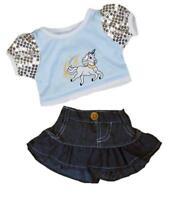 """UNICORN SPARKLY T-SHIRT & SKIRT 16""""/40cm TEDDY BEAR CLOTHES/ BUILD YOUR OWN BEAR"""