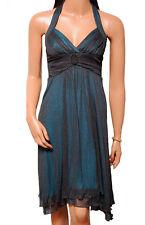 C022 - Ladies Black Teal Sparkle Evening Prom Dress – UK 6/8
