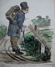 German artist, ink drawing. Grand tour - Caricature c1830
