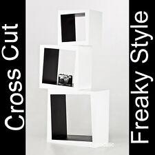 Schräges Cross Cut Retro Cube Lounge 70er Bücherregal Kult Pulp schwarz weiß #20