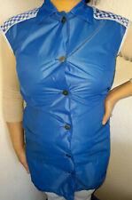 Nylon Dederon Kittel Schürze Vintage Smock Blouse  Blau M82  Fal-ko