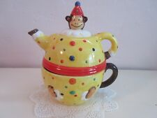 PEEGY JO ACKLEY MONKEY CLOWN TEA POT AND CUP MADE IN CHINA