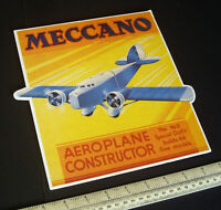1930s/80s Meccano Stand-Up Advertising Card Aeroplane Constructor #2. Facsimile