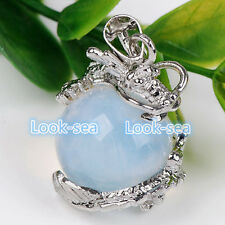 Dragon Wrap Ball Bead Jade Gemstone Quartz Pendant Fit Necklace Punk Charms Chic