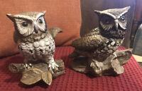 Vintage Porcelain Brown Barn Owl Figurines Set Of 2 #1114 HOMCO Home Interiors