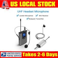 Mini Wireless Headset Microphone Mic Kit 3.5mm to 6.35mm adapter For Live Events