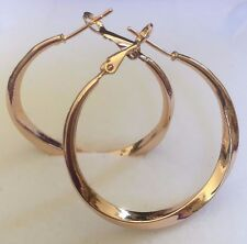 "E21 Plum UK 18 Carat Gold Fill Twisted Hoop Earrings 4cm 40mm 1.5"" Diameter BOXD"