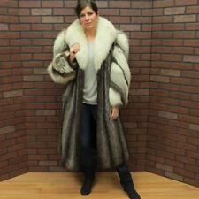ladies real SO FAB! WHITE BROWN FOX & SILVER TIP RACCOON FUR COAT!  S/M