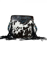 MYRA BAG Black Panther Hand-Tooled Leather Purse Cowhide Fringed Bag Black White