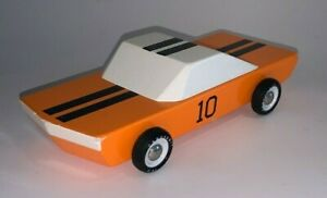 Candylab Wooden Toys, ORANGE 10 RACE CAR (Used Condition)