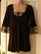 BROWN JUMPER WITH 3/4 SLEEVES, SIZE 14