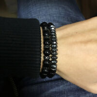 Fashion 8mm Hematite & Lava Stone Labradorite Beaded Bracelets Men Women Jewelry