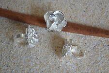 Edelstahl Ring elegante Blüte flexibel weiß Silber Bandring Emaille ME 364
