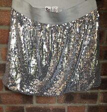 Silver Sequin Mini Bubble Elasticated Waist Skirt - Size 14 - Christmas Party ?