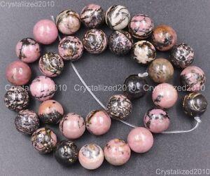 """Natural Gemstone Black Line Rhodochrosite Round Beads 4mm 6mm 8mm 10mm 12mm 15"""""""