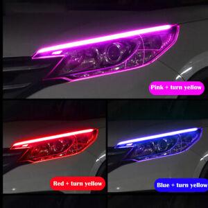 Flexible Car Motor LED DRL Light Lighting Dual Strip Article Lamp 30/45/60cm