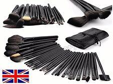 Prof 32 Pcs Make Up Brush Set and Cosmetic Brushes Faux Leather Case Pink/Black