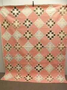 Vtg 1920s-30s Hand Sewn Feed Sack Patchwork Log Quilt 79x95 Farmhouse Cottage