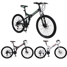 "New ListingNTTKLYY 26"" MTB V2 Folding Dual Suspension 21 Speed Gear Mountain Bike USA"