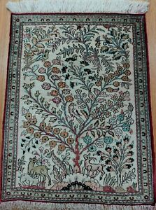 GENUINE 100% SILK TREE OF LIFE PICTORIL HAND KNOTTED DEER BIRD ORIENTAL RUG 2x3