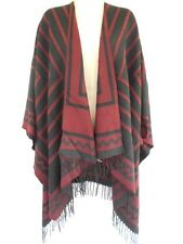 Stripe Knit Sleeveless Wrap Cape Sweater Shawl Poncho One Size Black Red