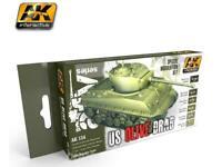 AK INTERACTIVE AK131 US Olive Drab Modulation Acrylic Model Paint Set 6 Colors