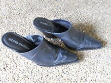 MICHAEL SHANNON Women's Size 6M Black Leather Western Mules Open Back High Heels