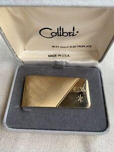 Vintage Colibri Money Clip - 18K. Gold Electroplate with Diamond